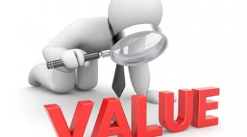 Person examines value