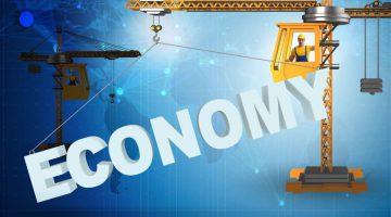 Crane lifting word economy up