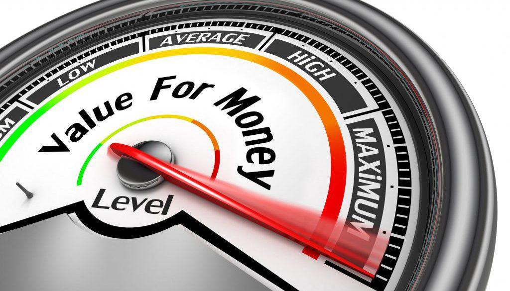 Value for money conceptual meter to maximum