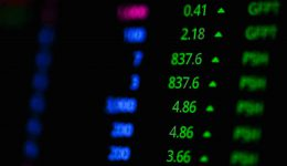Stock market graph on screen